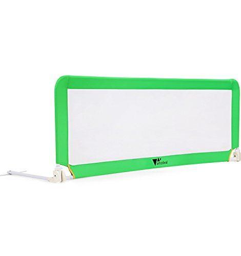 Amzdeal-Barrire-de-Lit-Portable-pour-bb-enfant-Barrire-de-scurit-Lavable-en-Nylon-Plastique-150-50-40cm-Vert-0-1