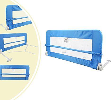 Leogreen-Barrire-de-Scurit-pour-Lit-de-Bb-Barrire-de-Scurit-Pliable-12-mtres-Bleu-Matriau-Tissu-en-nylon-0