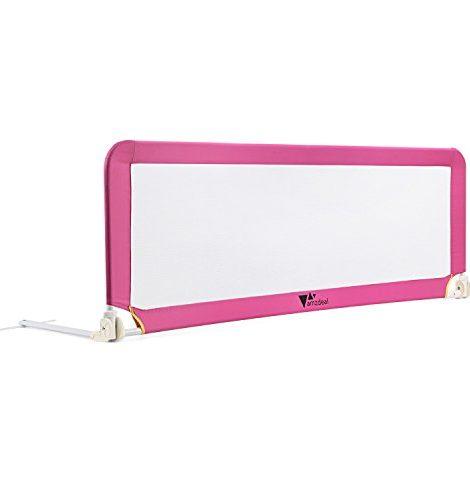 Amzdeal-Barrire-de-Lit-Portable-pour-bb-enfant-Barrire-de-scurit-Lavable-en-Nylon-Plastique-150-50-40cm-Rose-0-1