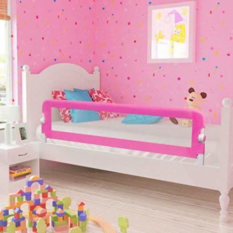 Tidyard-Barrires-de-Lit-de-Scurit-pour-Enfants-Bb-avec-Boutons-150-x-42-cm-Rose-0