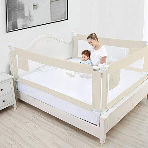 Greensen-Barrire-de-lit-pour-bb-Rglable-Vertical-Portable-Pliable-Protection-anti-chute-pour-les-tout-petits-et-les-enfants-Beige-0